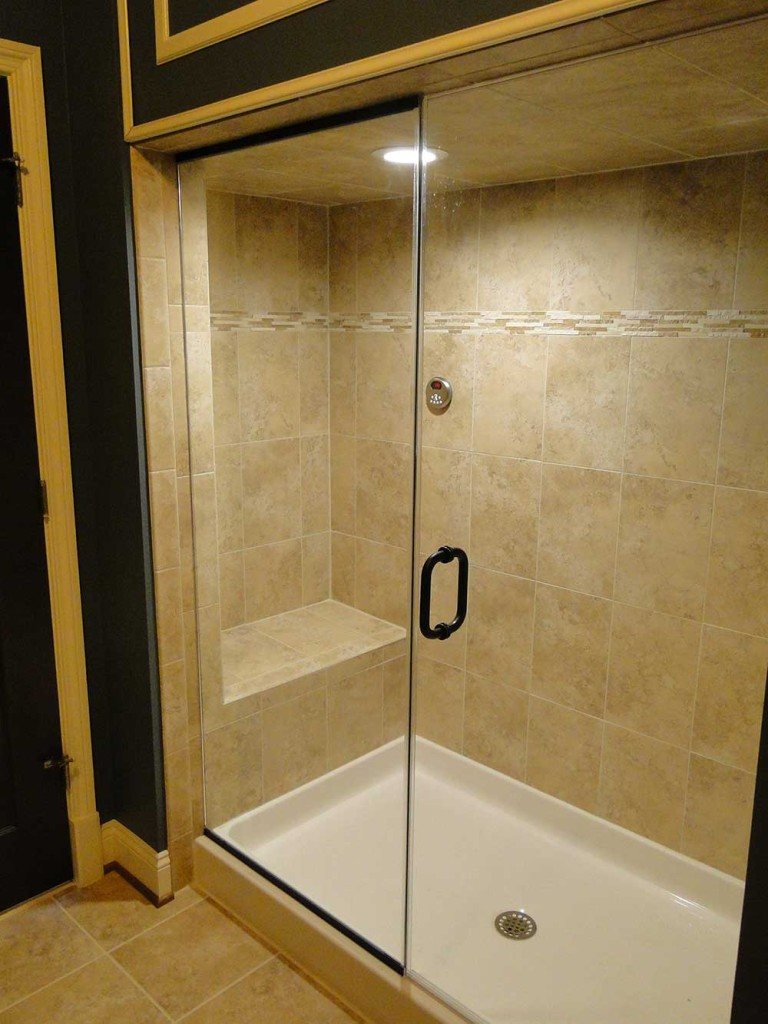 Installed Full Height Shower Glass Enclosure. Fabricated And Install Custom  Mill Work Enclosure Panel U2013 Removable For Generator Access And Maintenance.