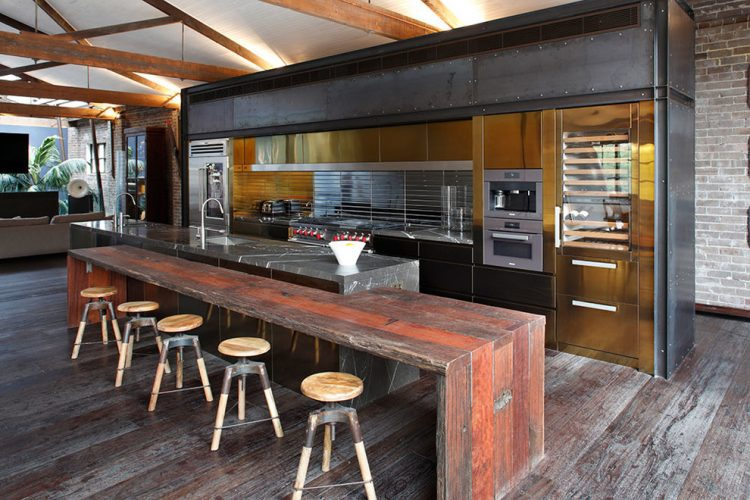 industrial kitchen furniture. Spacious Industrial Single-wall Eat-in Kitchen Located In An Old Factory Building With Furniture T